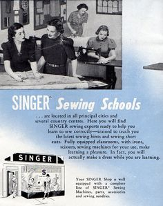 1940s Singer Sewing Machines Vintage Advertising by BessieAndMaive, $7.00    http://www.etsy.com/listing/109680977/1940s-singer-sewing-machines-vintage?