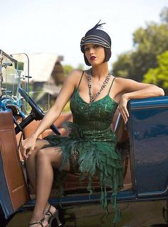 Flapper in Green Dress and Blue Auto