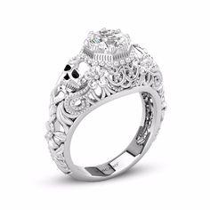 Vintage Style Cut Out Cirrus Flower Design Skull Engagement Ring - vancaro