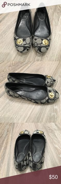 Authentic Coach Flats Authentic Coach flats. Canvas with signature Coach logo. EUC. Please note the small spot on the front of one of the shoes. No box is included. Coach Shoes Flats & Loafers