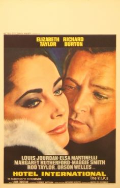 Hotel International (The VIPs), 1963 - original vintage movie poster for the film starring Elizabeth Taylor, Richard Burton and Louis Jourdan, listed on AntikBar.co.uk