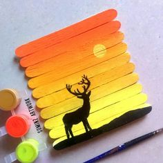 Popstick painting painting and coloring popsicle art, popsic Popsicle Stick Art, Popsicle Crafts, Pop Stick, Ice Cream Stick Craft, Popsicle Stick Crafts For Adults, Art N Craft, Craft Stick Crafts, Diy Art, Craft Ideas