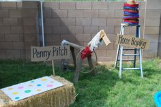 Penny Pitch – throw a penny and try to land on a spot (varying sizes). Smaller spots worth more points.