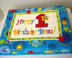 First Birthday Star! - 1/2 sheet iced in BC with MMF decoration and RI too. Price: 60.00