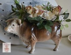 Vintage Country French Bull / Cow Figurine Planter