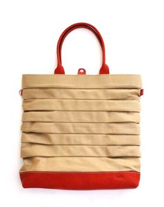 QUOTE Play Bag Leather N Canvas---Light brown
