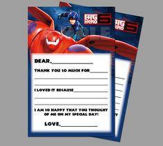 Instant download Disney Big Hero 6 Kids Fill In Thank by PeekaOwl