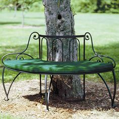 Features:  -Made of wrought iron.  -Looks elegant on its own.  -Put three benches together to form a circle.  -Perfect for encircling a tree.  -Optional cushion sold separately.  -Coordinates with the