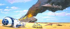 Star Wars, The Art of Ralph Angus McQuarrie : 100 Concept Art - Daily Art, Movie Art Ralph Mcquarrie, Star Wars Poster, Star Wars Art, Star Trek, Star Wars Episode 6, Star Wars Battle Droids, Conceptual Drawing, Star Wars Concept Art, Wall Art