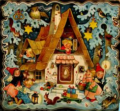 Pfefferkuchenhaus, vintage Advent calendar, with illus by Marianne Drechsel, b. 1923. It has 24 doors which open to a small cavity to be filled with candy or toys, etc. This calendar is still in production today.