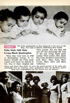 Update on the Fultz Quadruplets in the November 5, 1981 issue of Jet Magazine. The Quads at one year old at the top. THe picture on the bottom left are of the Saylors, the Quads'  guardians. The picture on the right are of the quads as they graduated Barbizon modeling school