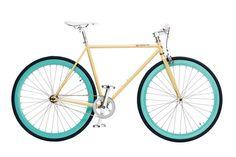 The X-Ray: Gloss Cream frame with Mint Green deep dish wheels. #fixie