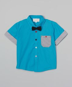 Another great find on #zulily! Teal Bow Tie Button-Up - Toddler & Boys by Baby Boosh Clothing #zulilyfinds