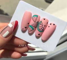Summer Acrylic Nails, Best Acrylic Nails, Gel Nail Art, Nail Manicure, Shellac Nails, Food Nail Art, Cat Nail Designs, Fruit Nail Designs, Nail Swag