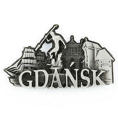 Imán de nevera de metal Gdańsk.  Un imán de metal con las palabras Gdańsk, que representa los monumentos de esta ciudad.  #gdańsk #imán #imándenevera Metallica, Accessories, Cool Gadgets, City, Words