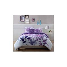 Lavender Shadow Comforter Set ($75) ❤ liked on Polyvore featuring home, bed & bath, bedding, comforters, beddings, twin comforter, king size comforter sets, queen comforter, reversible comforter and floral queen comforter set