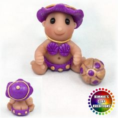 Polymer Clay Baby Beach Girl - Cake Toppers, Jewelry Pendants, Ornaments, Figurines, Characters, Sculptures, Miniatures - Cute Collectible Whimsical - Kimmie's Clay Kreations