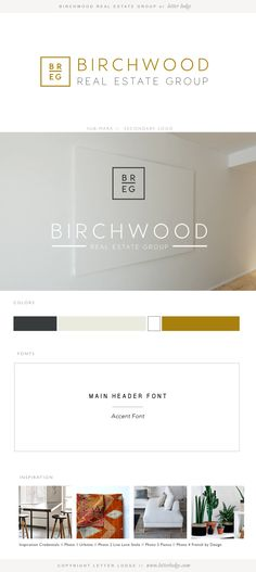 Birchwood Real Estate Group by Letter Lodge | Brand Identity Design | Modern Clean White Minimal | Logo Design | Color Palette | Font Styles | Vision Board