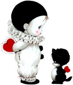 Симпатичные мимики и милый котенок с сердцами PNG изображение