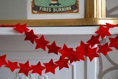 Red Christmas Star Felt Garland by littlenestbox on Etsy, $30.00