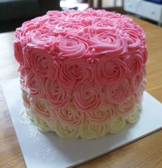 Pink Ombre rose cake - so easy but looks so great <3