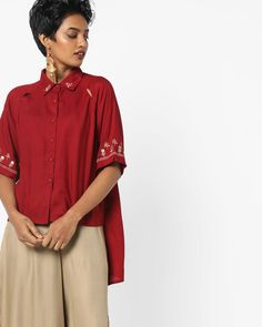 a0d1d0475df Buy AJIO Women Brick Red High-Low Shirt with Embroidered Hems | AJIO High  Low