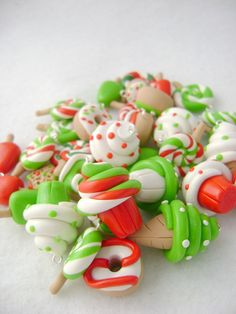 15 Assorted Polymer Clay Charms Christmas by Emariecreations