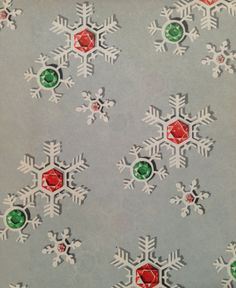Vintage Christmas Wrapping Paper - Patriotic Ruby and Emerald Snowflakes on Grey Skies - 1 Unused Full Sheet Christmas Gift Wrap