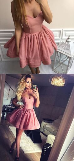 Cute Sweetheart Short Pink Homecoming Dress,Custom Prom Dresses ,Evening dresses,151