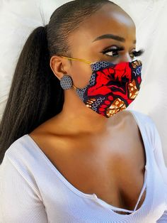African print mask & earrings African Print Clothing, African Print Fashion, Fashion Prints, Body M, African Dress, Couture, Earrings, Clothes, Beautiful