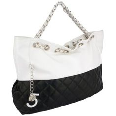 494c947599b5 CAMRYN Summer Silvertone Black Quilted Accent Double Shoulder Chain  Oversized Tote Bag Hobo Satchel Handbag Purse Polish up your summer look  with the ...