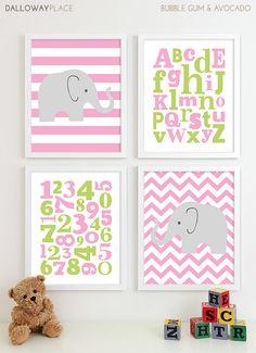 Baby Girl Nursery Art Chevron Elephant Alphabet Art by DallowayPlaceKids