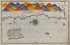 Piri Reis, beş asır önce yaptığı Bozcaada haritasında dağları gökkuşağı renkleriyle donatmış