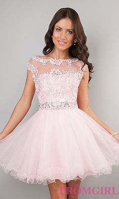 Short Cap Sleeve Lace Dress by Dave and Johnny at PromGirl.com