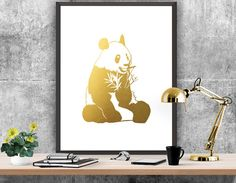 Panda Printable Gold Panda Art Panda Wall Art by ATArtDigital Art Christmas Gifts, Christmas Poster, Christmas Quotes, Merry Christmas, Gold Decorations, Panda Art, Wishes For You, New Years Party, Christmas Printables