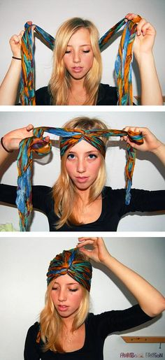 DIY Turban for Bike Friendly Hair you can do in a few easy steps! Great to get your hair out of the way yet look stylist when you take off your helmet. Scarf Hairstyles, Trendy Hairstyles, Beautiful Hairstyles, Curly Hairstyles, Gypsy Hairstyles, Festival Hairstyles, 2015 Hairstyles, Hair Day, Your Hair