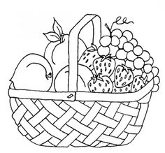 Free printable fruits in picnic basket coloring page