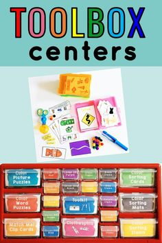 This teacher toolbox turns into a fine motor center focused on color words! All the task cards and materials stay in one place. Students will love having their own hands-on toolbox! From Positively Learning #finemotor #teachertoolbox