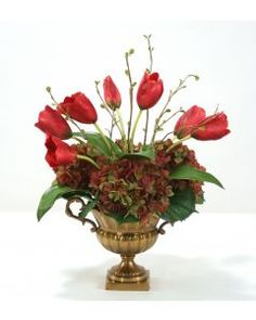 9036# - Burgundy Tulips and Rose Green Hydrangeas in Antique Brass Fluted Compote