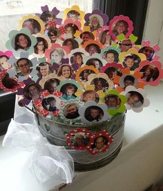 """This is a Pinterest-inspired bouquet made for my mom's 80th birthday party. It's such a wonderful idea that I had to make it! This is an """"immediate family"""" bouquet rather than the wonderful teacher bouquet I saw here: http://pinterest.com/pin/155092780890137604/"""