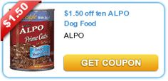 $1.50 off ten ALPO Dog Food. New as of 10/14/12