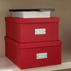 25x34x14 cm 26x37x15 cm Red Document Storage Box Red | Bigso