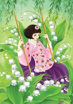 """열두달의 꽃과 한복을 입은 열두명의 소녀. 소녀, 꽃 속에서 노닐다. 연작 5월의 탄생화 은방울꽃 꽃말은 """"틀림없이 행복해집니다"""""""