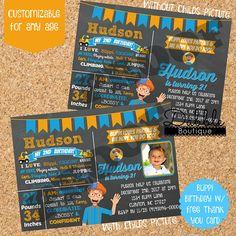 Blippi Birthday Invitation/ Blippi with Stat Board Birthday