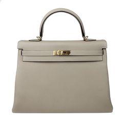 Hermes: Gris Tourterelle Kelly 35cm Hermes Togo Bag Gold Ghw   MALLERIES