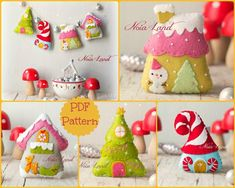 This PDF hand sewing pattern will give you instructions and patterns to make the Christmas houses pictured  Size (approximately): 3-4    Language: English  THIS IS NOT A FINISHED ITEM.  THIS PDF e-Pattern includes: . Step by step photo tutorial. . A material and supply list. . Full size