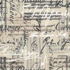 Preciosa tela de patchwork con notas musicales y nombres de varios compositores en tonos pastel y crudo.