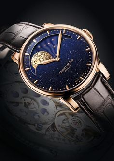 A new version of the modern-classic moon phase, the Arnold & Son HM Perpetual Moon in red gold with an aventurine mineral glass dial, recalling a clear, starry night sky. High End Watches, Cool Watches, Unusual Watches, Affordable Watches, Expensive Watches, Stylish Watches, Wrist Watches, Sport Watches, Vintage Watches For Men