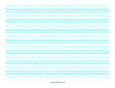This Calligraphic Practice Paper-Landscape features alternating sets of blue lines spaced 1/4- and 1/2-inch apart with low angle vertical guidelines on letter-sized paper in landscape orientation. Free to download and print