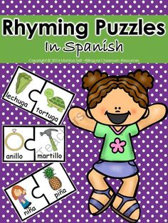 Free Rhyming Puzzles In Spanish from Bilingual Resources on TeachersNotebook.com -  (15 pages)  - 20 Rhyming puzzles in Spanish.   Each puzzle piece has picture and word of the item shown.   This activity can be completed in pairs, individually or during small group instruction.Print on card stock and laminate for durability!   Rhyming is an essential